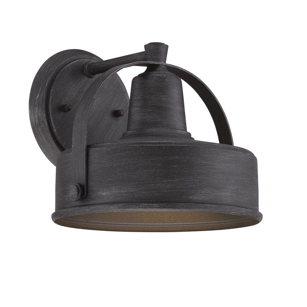 Designers Fountain Portland Ds 1 Light Weathered Pewter Outdoor Incandescent Wall Lantern