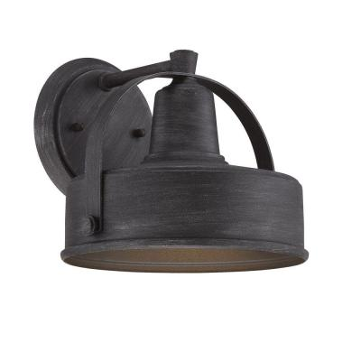 Portland-DS 1-Light Weathered Pewter Outdoor Incandescent Wall Lantern