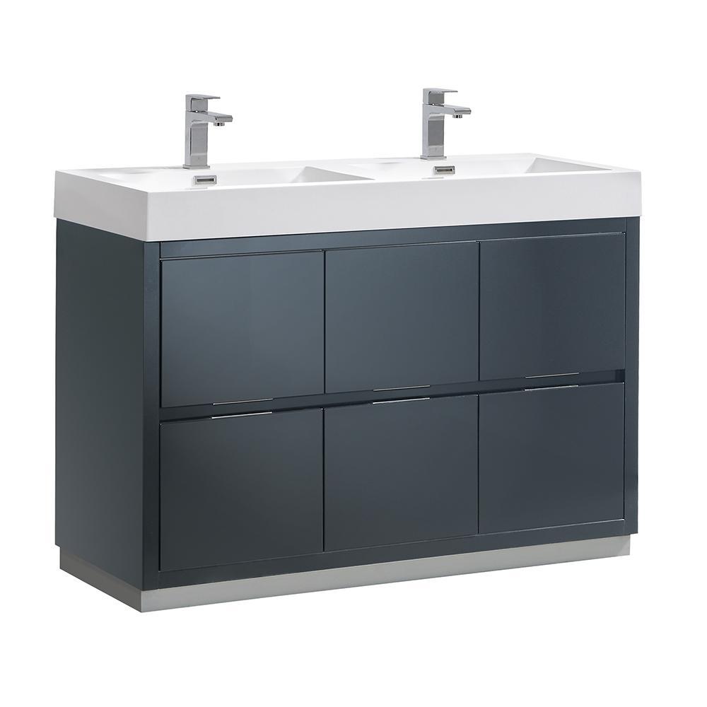 Valencia 48 in. W Bathroom Vanity in Dark Slate Gray with