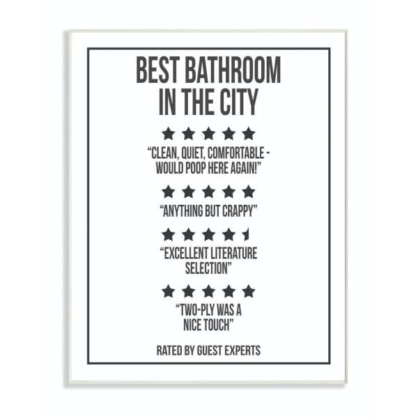 10 in. x 15 in. ''Five Star Bathroom Black And White'' by Daphne Polselli Wood Wall Art