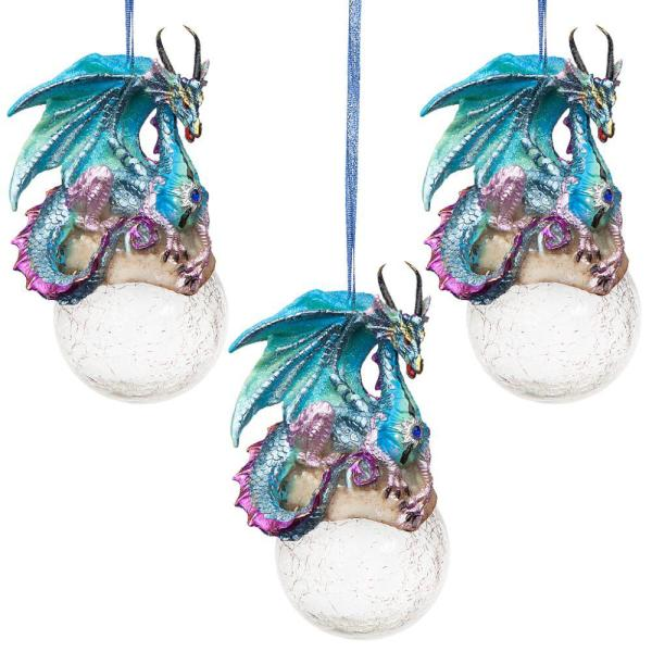 5 in. Frost, the Gothic Dragon Holiday Ornament (3-Piece)