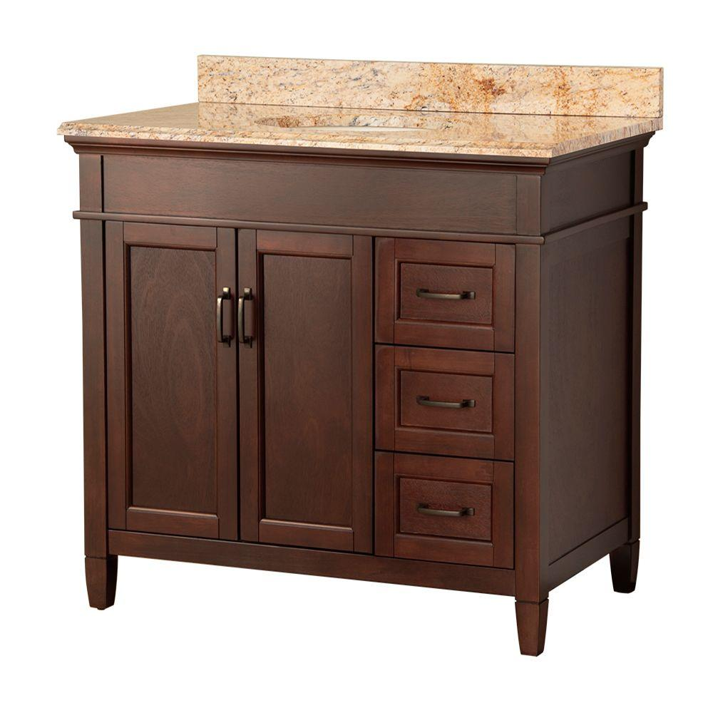 Home Decorators Collection Ashburn 37 in. W x 22 in. D Bath Vanity in Mahogany with Right Drawers with Stone Effects Vanity Top in Tuscan Sun
