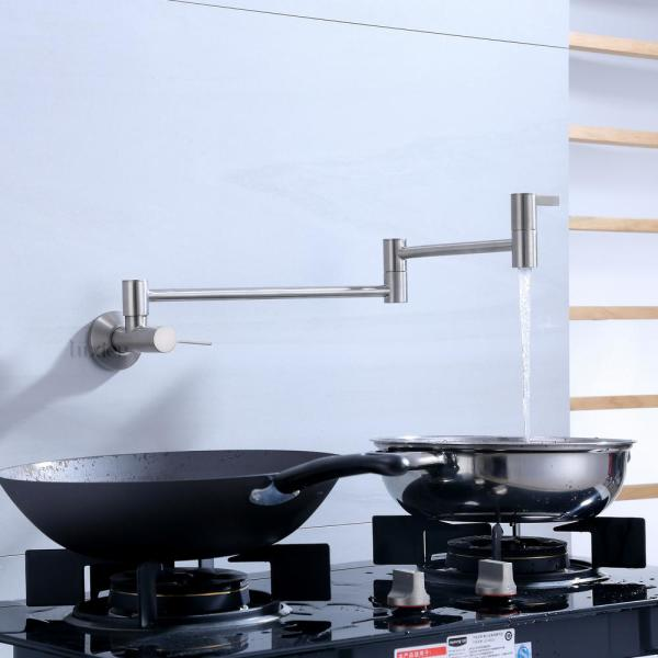 Luxier Contemporary 2 Handle Wall Mounted Pot Filler In Brushed Nickel Kts17 Tb V The Home Depot