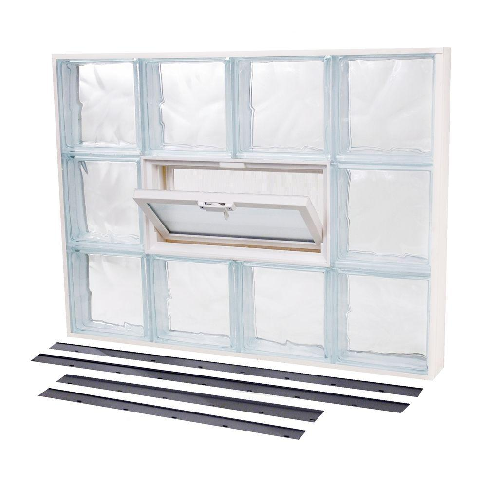 TAFCO WINDOWS 45.125 in. x 19.875 in. NailUp2 Vented Wave Pattern Glass Block Window