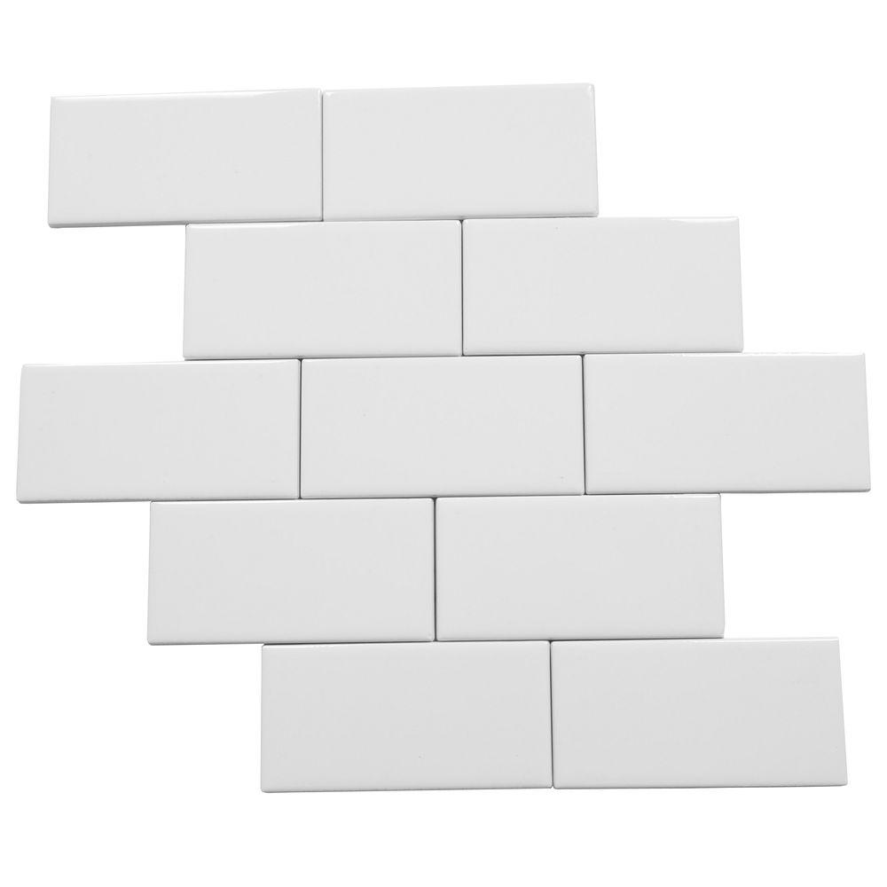 Daltile ceramic tile tile the home depot rittenhouse square arctic white 3 in x 6 in ceramic modular wall tile dailygadgetfo Choice Image