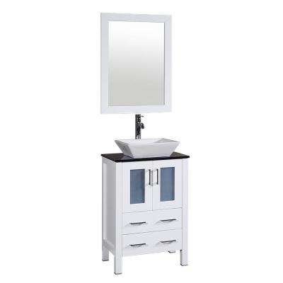 24 in. W Single Bath Vanity in White with Tempered Glass Vanity Top with White Basin and Mirror