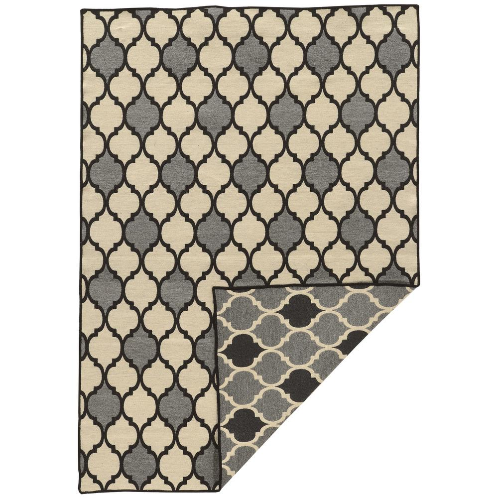 Linon Home Decor Salonika Trellis Grey With Black And Cream 5 Ft X 8