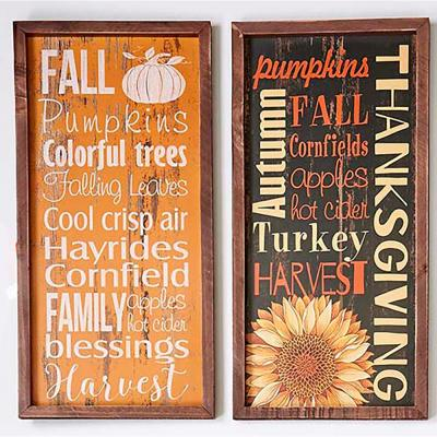 19.5 in. x 10.5 in. Wood Autumn Sign/Tray (Set of 2)