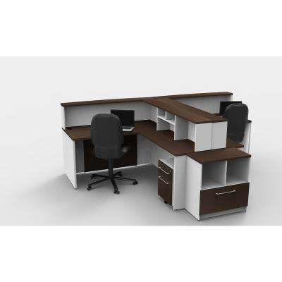 11-Piece White/Espresso Office Reception Desk Collaboration Center