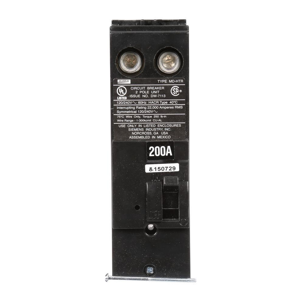 200 Amp Double-Pole 22 kA Type MD-HT Reverse Handle Circuit Breaker