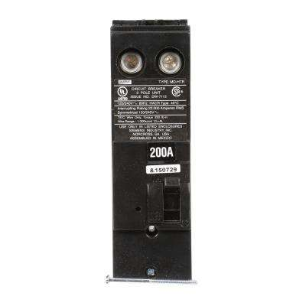 200 Amp Double-Pole 22 kA Type MD-HT Reverse Handle Circuit Breaker