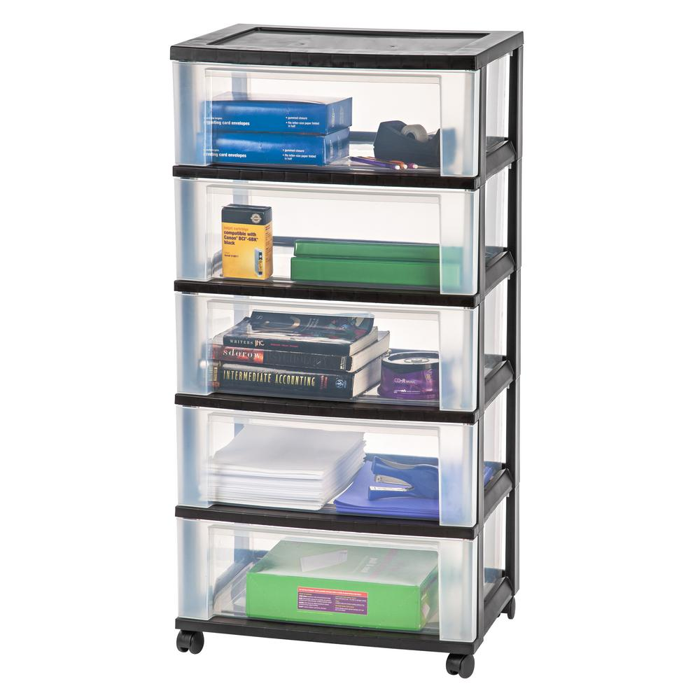 Wide 5 Drawer Storage Bin In Black