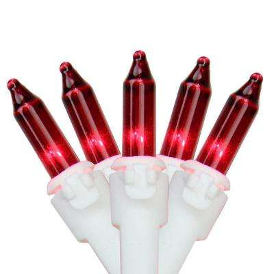 Set of 100 Red Mini Christmas Lights 2.5 in. Spacing with White Wire
