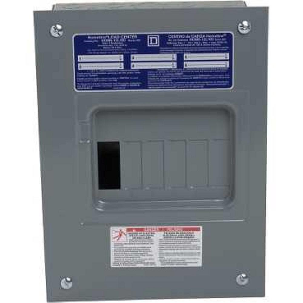 square d individual subpanels hom612l100fcp 64_1000 square d homeline 100 amp 6 space 12 circuit indoor flush mount 100 Amp Service Wire Size at webbmarketing.co