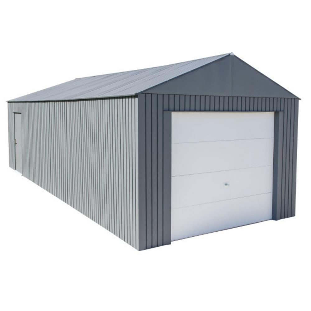 Sojag Everest 12 Ft H X 30 Ft W Charcoal Wind And Snow Rated Steel Garage Grc1230 The Home Depot