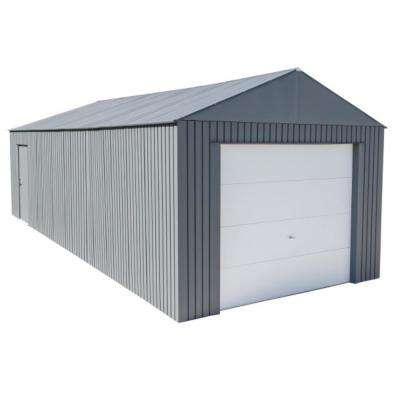 Everest 12 ft. H x 30 ft. W Charcoal Wind and Snow Rated Steel Garage