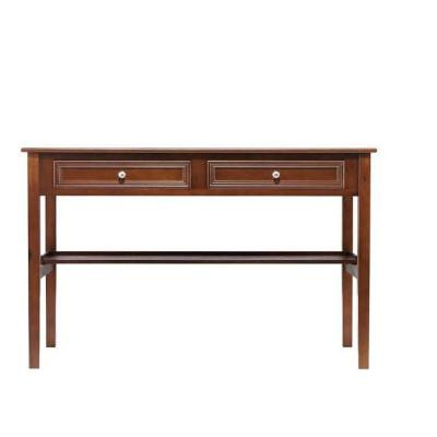 48 in. Rectangular Chestnut 2 Drawer Writing Desk with Built-In Storage