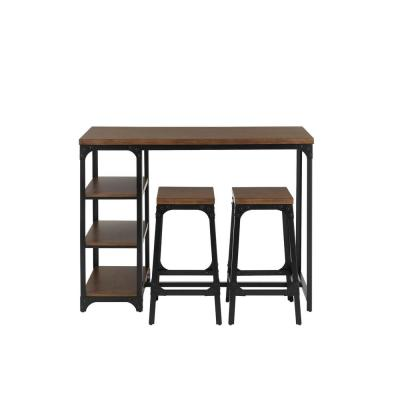 StyleWell Black Metal 3 Piece Dining Set with Haze Oak Finish Wood Top (53 in. W x 24.88 in. H)