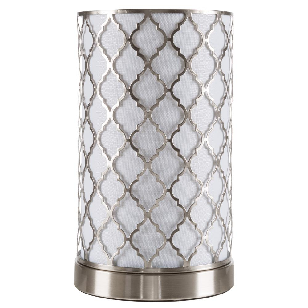 Lavish Home 11.5 In. Steel Uplight Lamp With Quatrefoil Pattern Fabric Shade