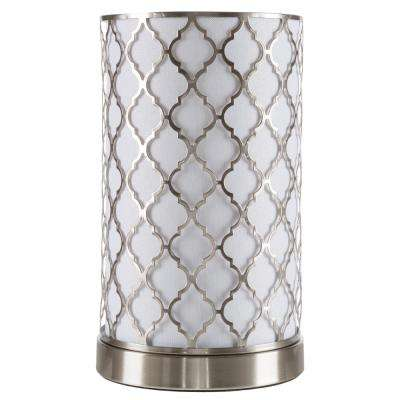 11.5 in. Steel Uplight Lamp with Quatrefoil Pattern Fabric Shade
