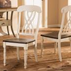 Baxton Studio Newman Buttermilk and Medium Brown Wood Dining Chairs (Set of 2)