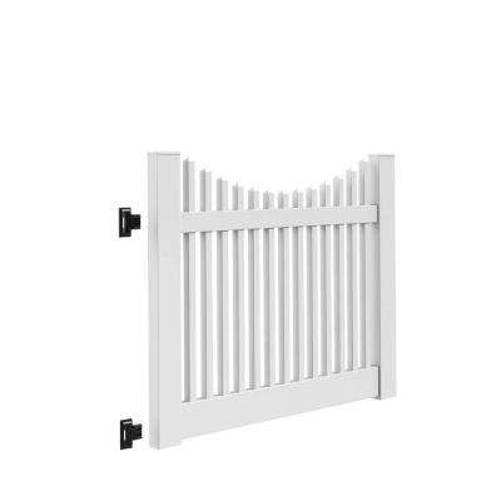 Yukon Scallop 5 ft. W x 4 ft. H White Vinyl Un-Assembled Fence Gate