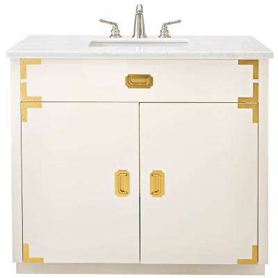 Chatham 38 in. W Single Vanity in White with Faux Stone Vanity Top in White with White Sink