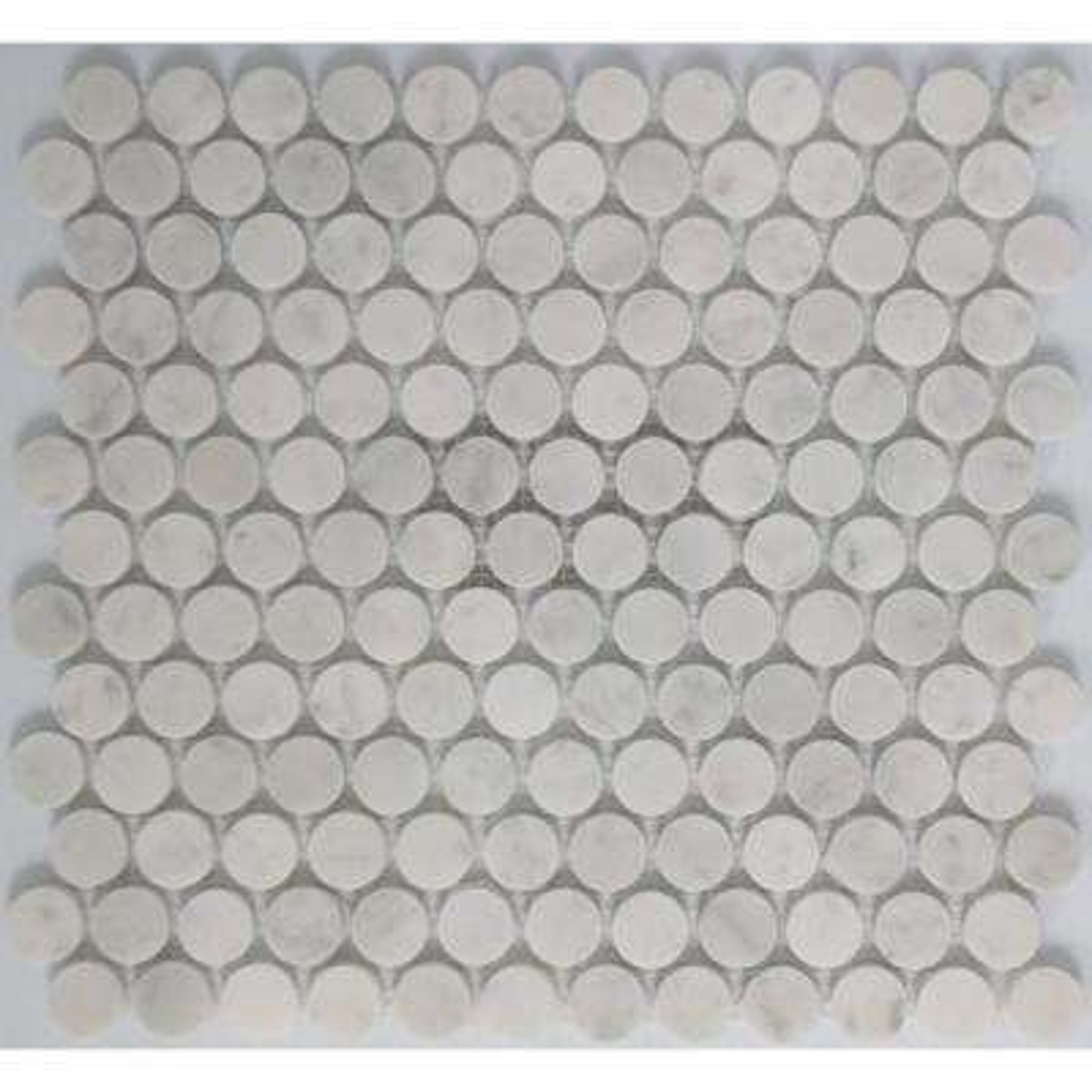 12 In X 10 Mm Tile Esque Carrara White Circle Marble