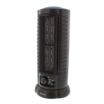 1,500-Watt Oscillating Ceramic Tower Heater with Safety Features in Black