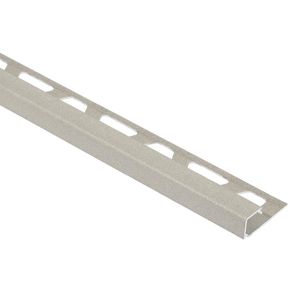 Quadec Cream Textured Color-Coated Aluminum 3/8 in. x 8 ft. 2-1/2 in. Metal Square Edge Tile Edging Trim
