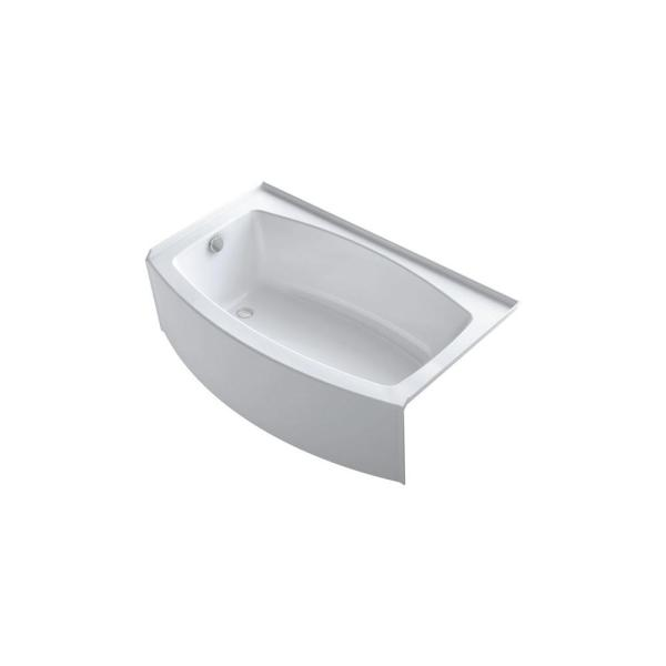 Expanse 60 in Left-Hand Drain Alcove Bathtub with Integral Flange in White