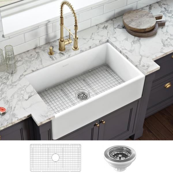 Farmhouse Apron-Front Fireclay 33 in. x 20 in. Reversible Single Bowl Kitchen Sink in White