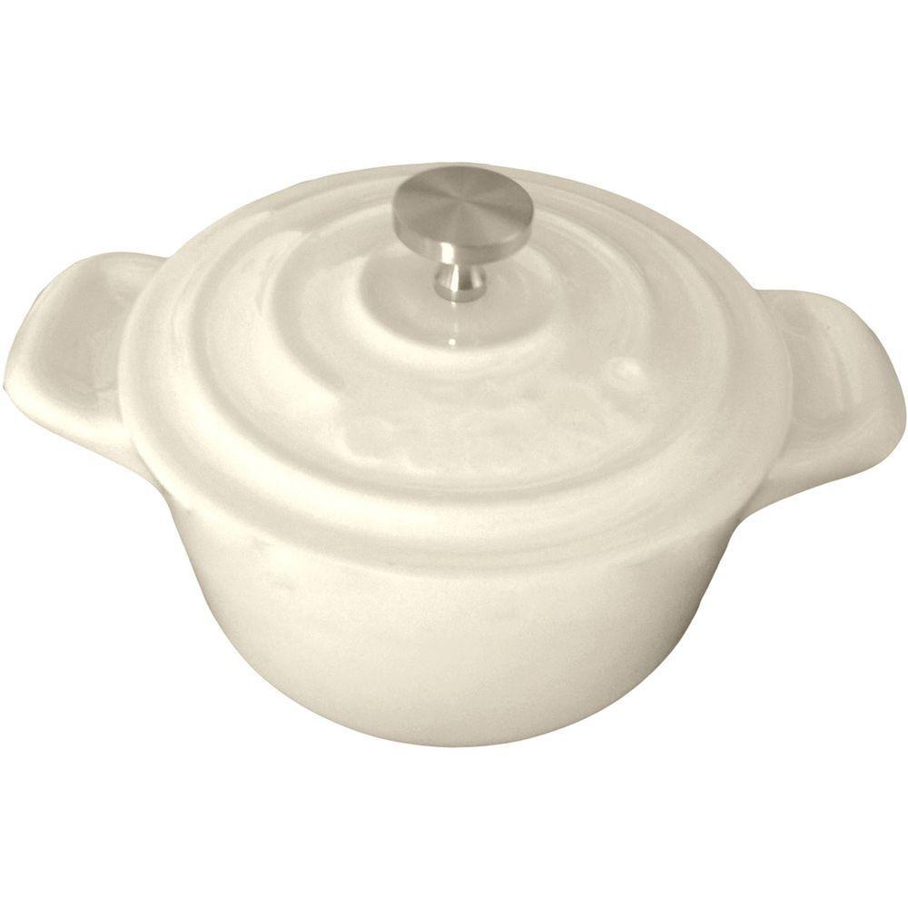 4 in. Mini Round Cast Iron Casserole Dish in Cream