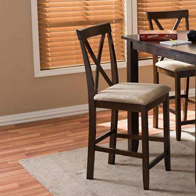 Natalie Beige Fabric Upholstered 2-Piece Counter Stool Set