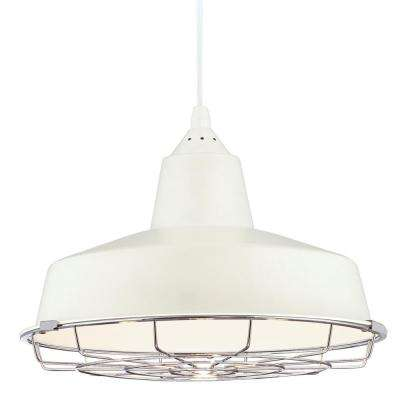 Brushed Nickel with White Interior Metal Shade with 2-1/4 in. Fitter and 12-1/8 in. Width