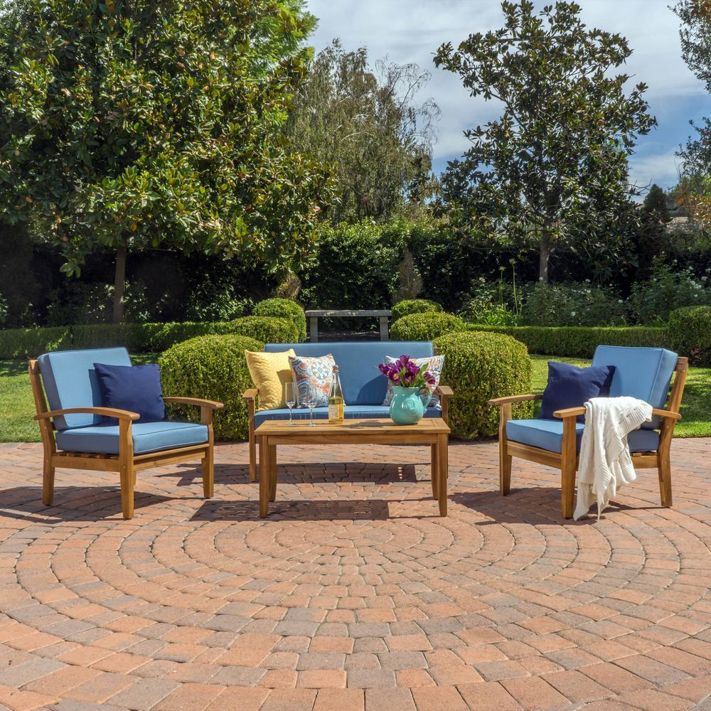 Galilea Teak Finish 4-Piece Wood Patio Conversation Set with Blue Cushions