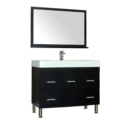 Ripley 39.25 in. W x 18.75 in. D x 33.12 in. H Vanity in Black with Acrylic Vanity Top in White with White Basin
