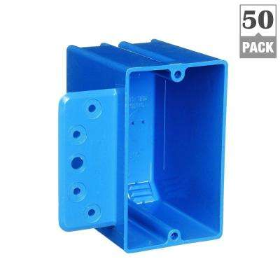 1-Gang 18 cu. in. Blue PVC New Work Electrical Switch and Outlet Box with Bracket (Case of 50)