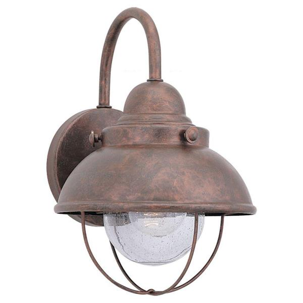 Sebring 8 in. W 1-Light Weathered Copper Outdoor 11.25 in. Wall Lantern Sconce with Clear Seeded Glass