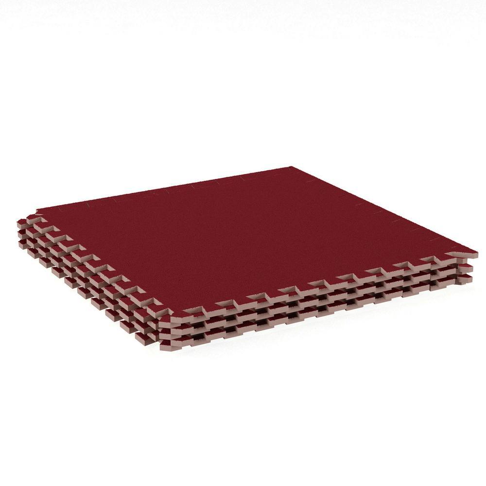 Stalwart red in in eva foam floor mat with carpet top