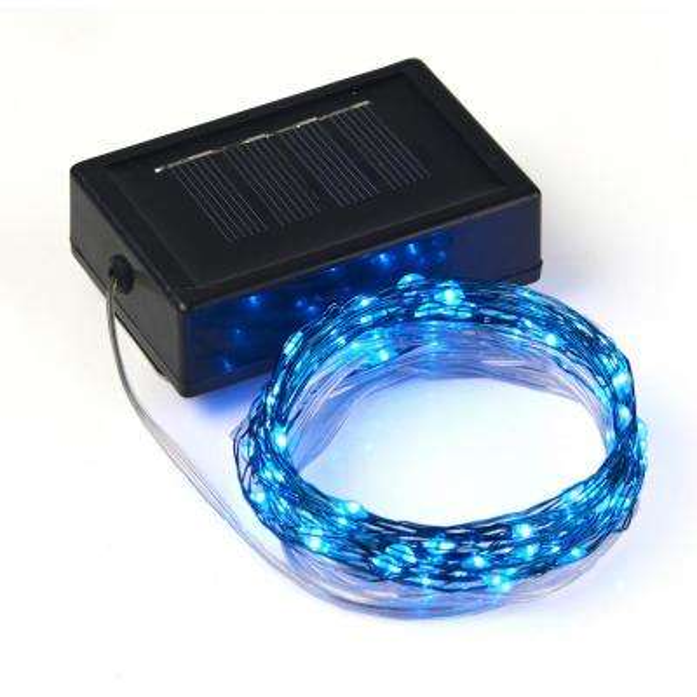 20 ft. 100-Micro LED Integrated LED Solar String Light in Blue