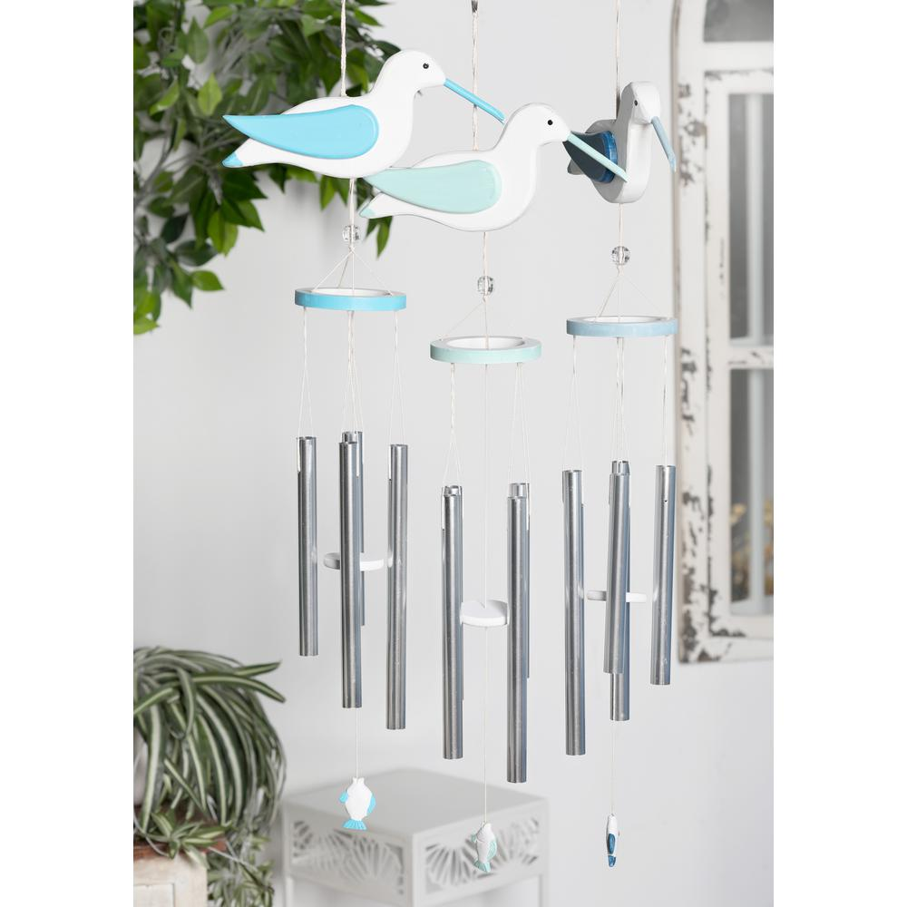 Litton Lane Light Blue And Dark Blue Wood And Aluminum Bird Wind Chimes Set Of 3
