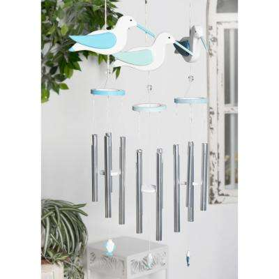 Light Blue and Dark Blue Wood and Aluminum Bird Wind Chimes (Set of 3)