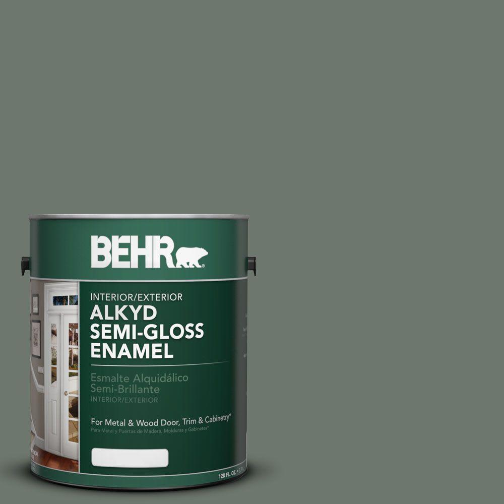 BEHR 1-gal. #AE-40 Hunt Club Semi-Gloss Enamel Alkyd Interior/Exterior Paint