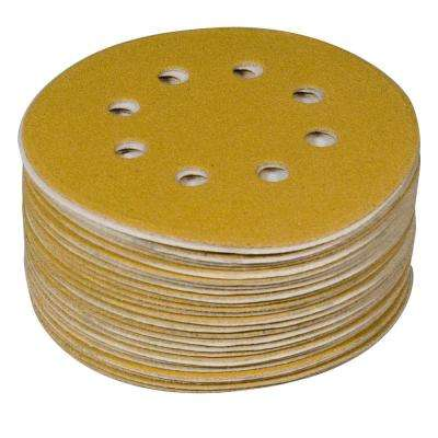 5 in. 80-Grit, 100-Grit, 120-Grit, 150-Grit, 220-Grit 8-Hole A/O Hook and Loop Sanding Disc Assortment in Gold (50-Pack)