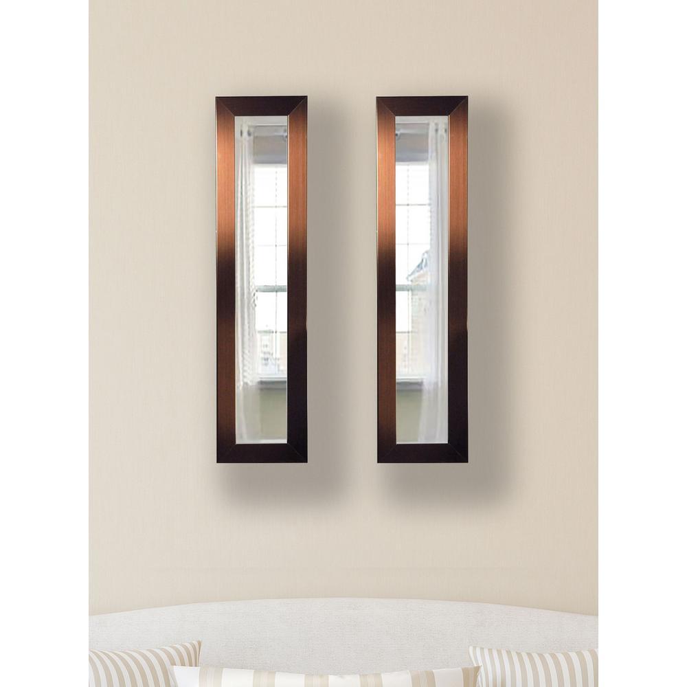 9.5 in. x 27.5 in. Shiny Bronze Vanity Mirror (Set of 2-Panels)