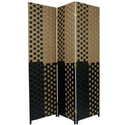 6 ft. Black and Tan Woven Fiber 3-Panel Room Divider