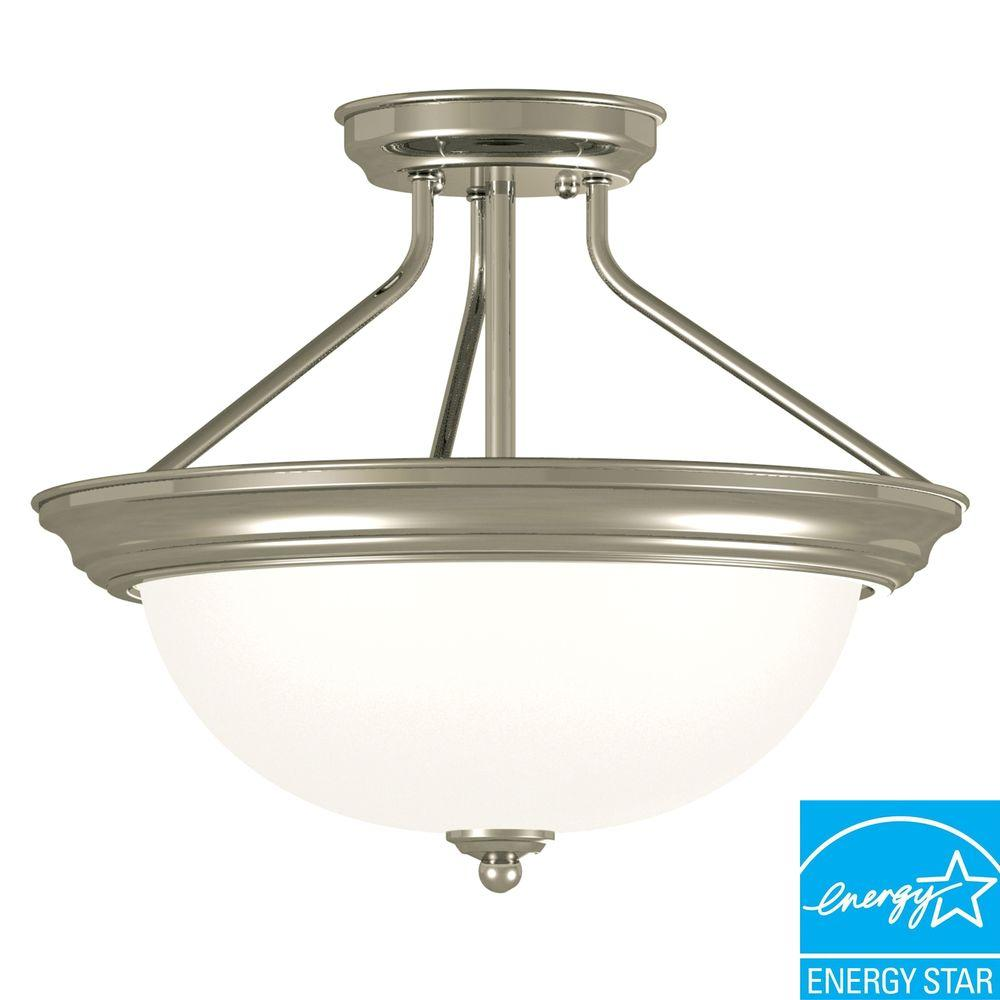 Kenroy Home Triomphe 2-Light 13 in. Brushed Steel Semi Flush-DISCONTINUED