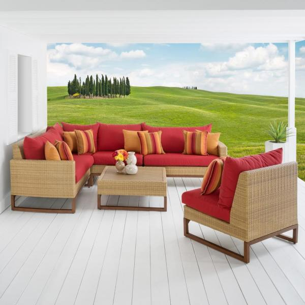 Mili 6-Piece Wicker Patio Sectional Seating Set with Sunbrella Sunset Red Cushions