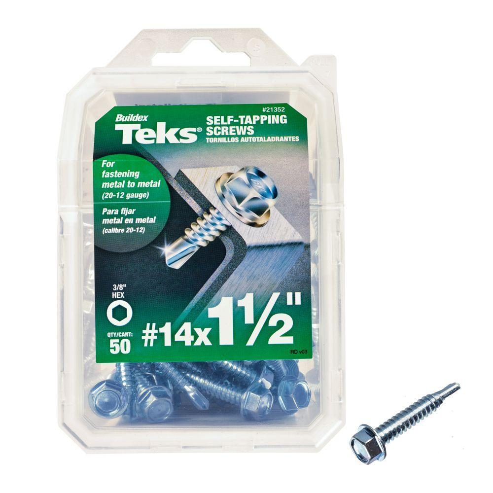 #14 1-1/2 in. External Hex Flange Hex-Head Self-Drilling Screws (50-Pack)